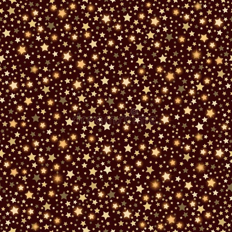 Предпосылка коричневого цвета текстуры золотых абстрактных сияющих падающих звезд безшовная иллюстрация вектора