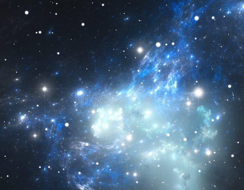 Предпосылка космоса заполненная с межзвёздными облаками и звездами иллюстрация вектора