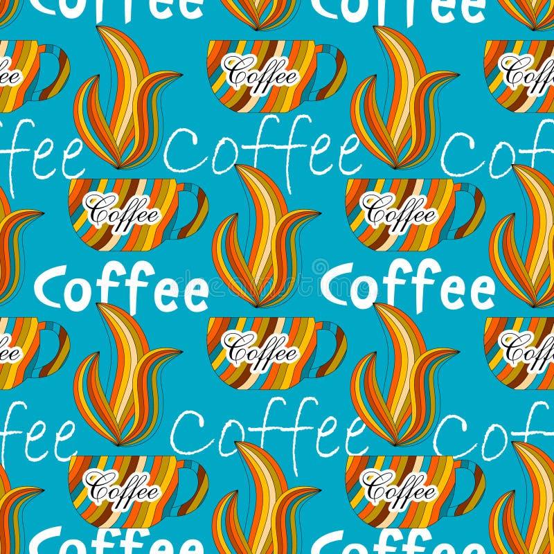 Предпосылка красивого кофе безшовная иллюстрация вектора
