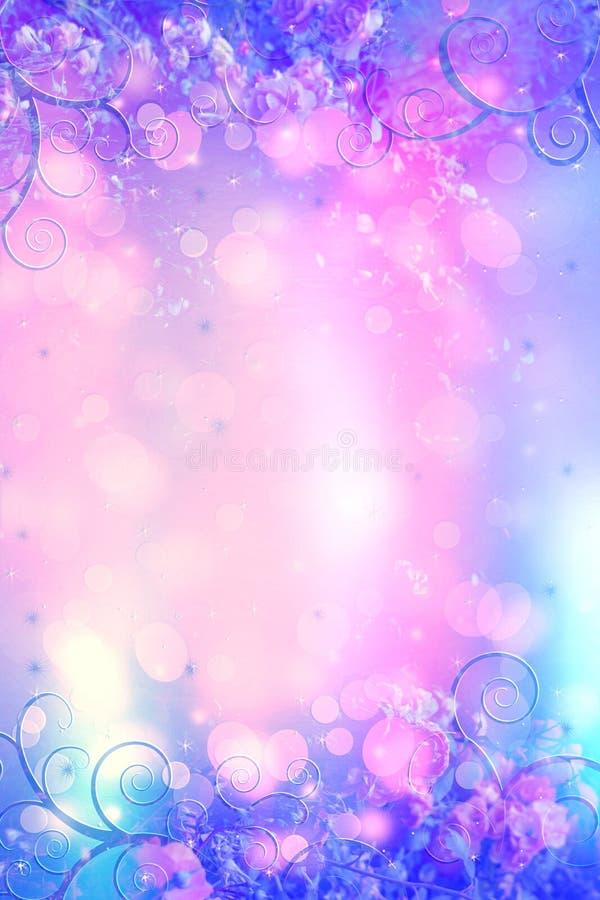 Предпосылка красивых роз художническая мечтательная с светами bokeh и флористической рамкой стоковая фотография rf