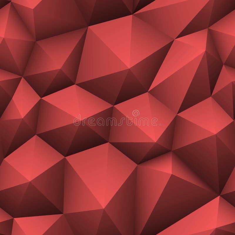 Предпосылка красного треугольника безшовная низко-поли абстрактная геометрическая текстура также вектор иллюстрации притяжки core иллюстрация вектора