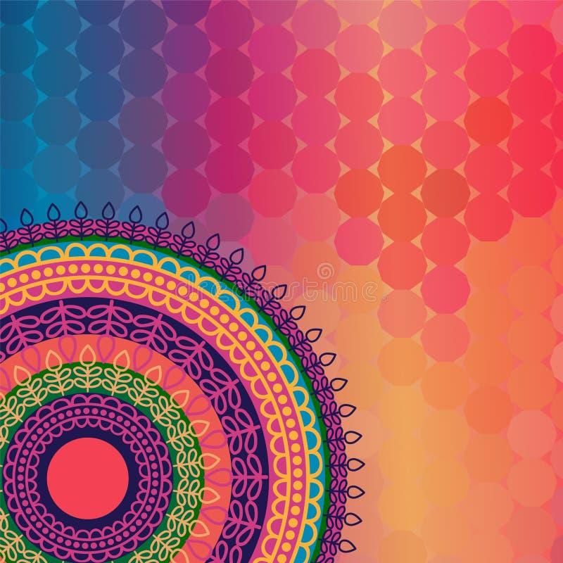 Предпосылка мандалы хны цвета иллюстрация вектора