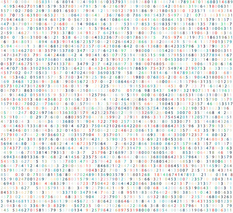Предпосылка матрицы цвета с числами Состав команд вычислительной машины для шифровать и шифровать иллюстрация вектора