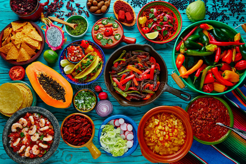 Предпосылка мексиканского смешивания еды красочная стоковое изображение rf