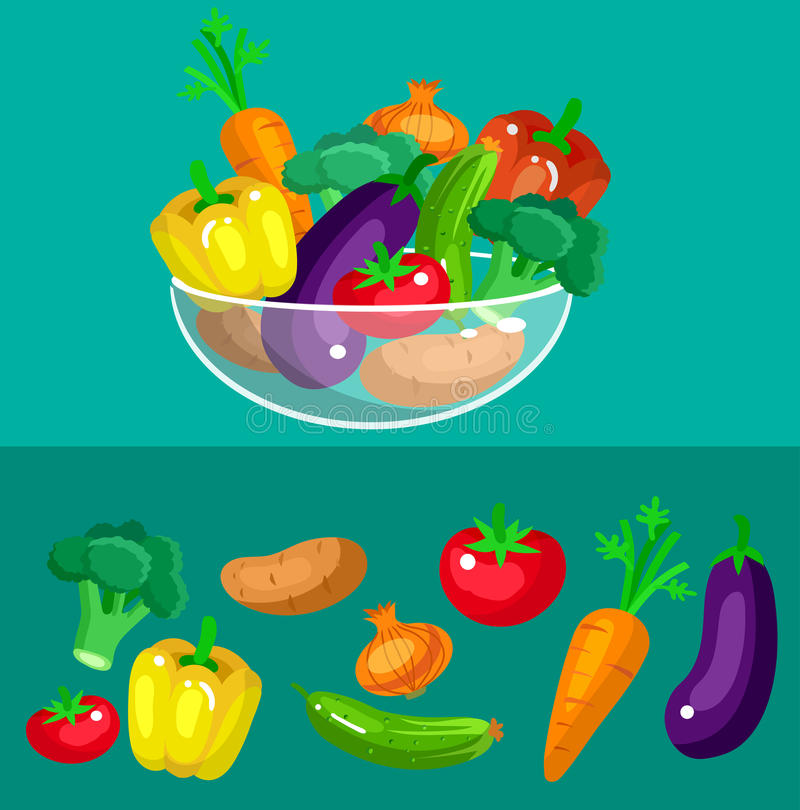 Предпосылка меню еды Eco Плоский детальный овощ бесплатная иллюстрация