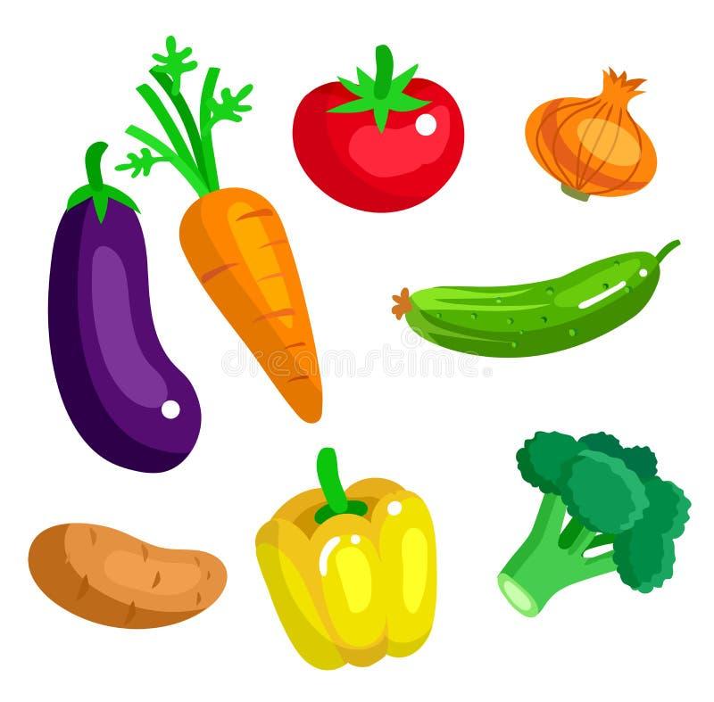 Предпосылка меню еды Eco Плоский детальный овощ иллюстрация вектора