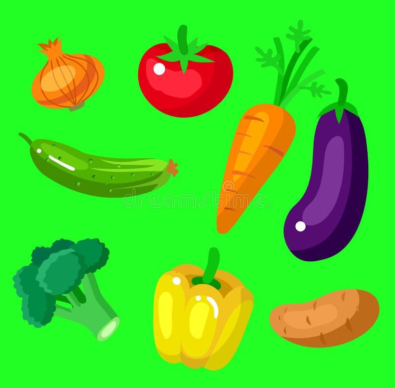 Предпосылка меню еды Eco Плоский детальный овощ иллюстрация штока