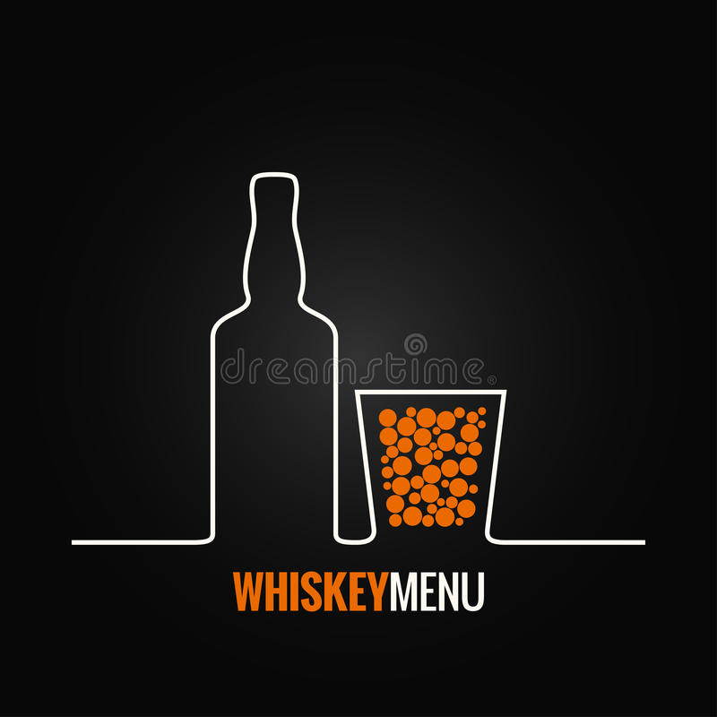 Предпосылка меню стеклянной бутылки вискиа иллюстрация вектора