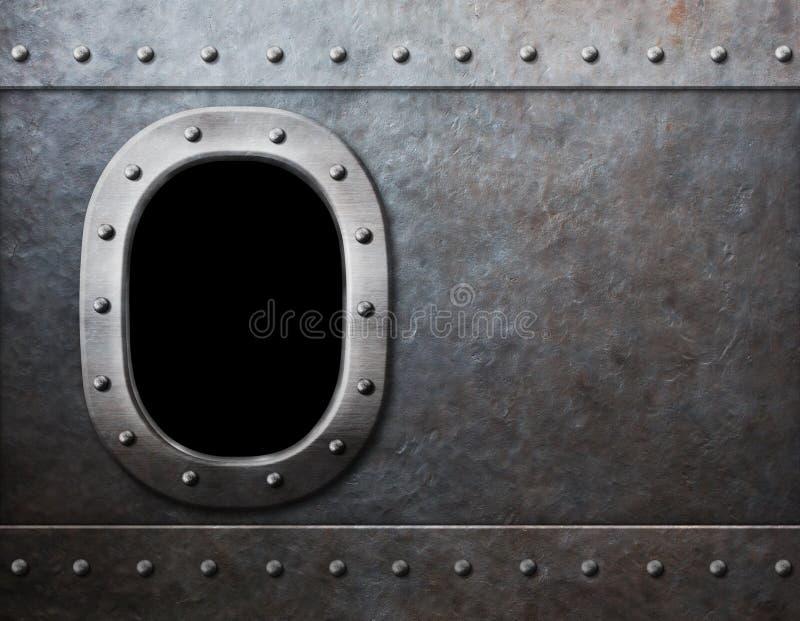 Предпосылка металла пара окна корабля или подводной лодки панковская стоковая фотография rf