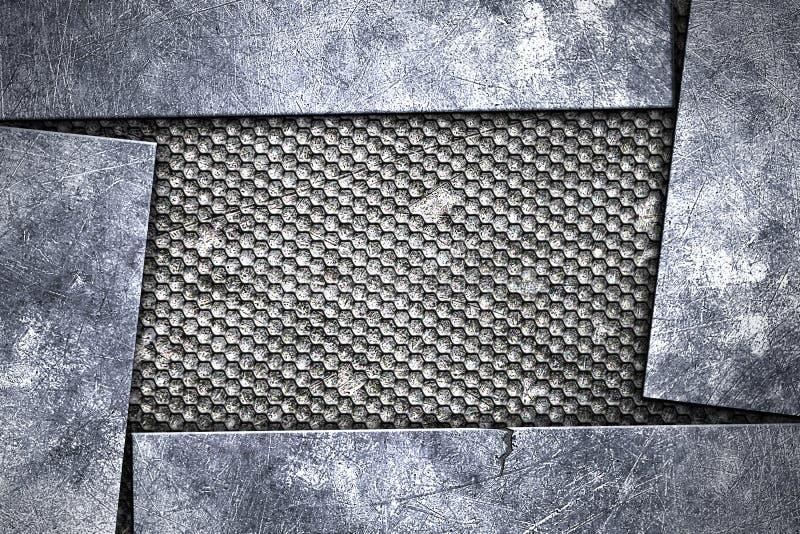 Предпосылка металла Grunge металлическая пластина на черном гриле иллюстрация вектора