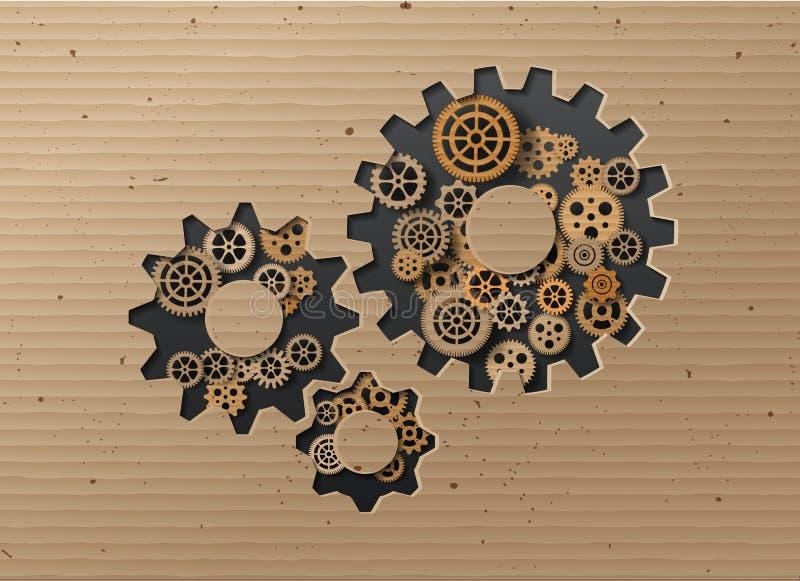 Предпосылка механизма Gearwheel также вектор иллюстрации притяжки corel иллюстрация штока