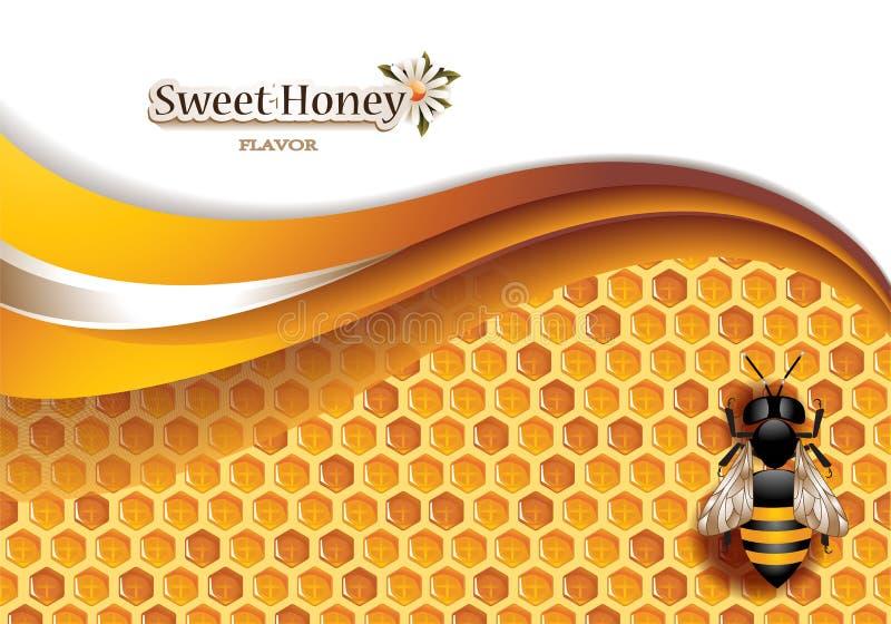 Предпосылка меда с работая пчелой иллюстрация вектора