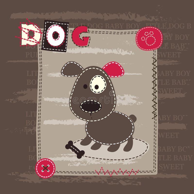 Предпосылка младенца милая с собакой иллюстрация вектора