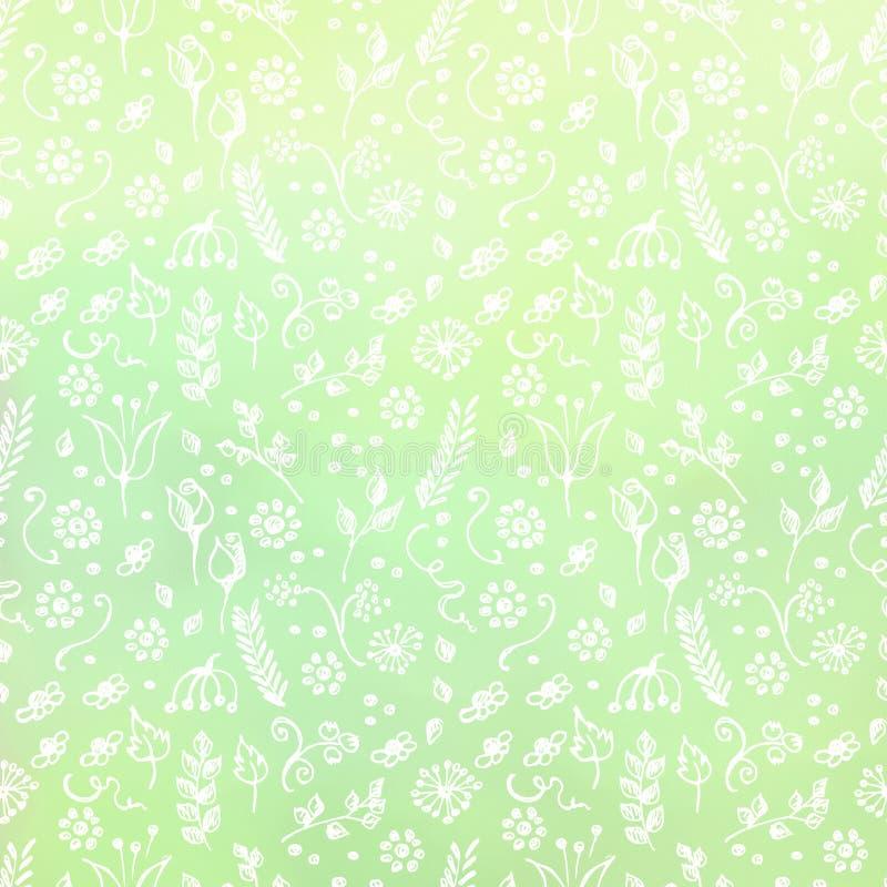 Предпосылка нарисованная рукой текстурированная флористическая Зеленый шаблон с маленькими цветками и листьями декоративная карти иллюстрация вектора
