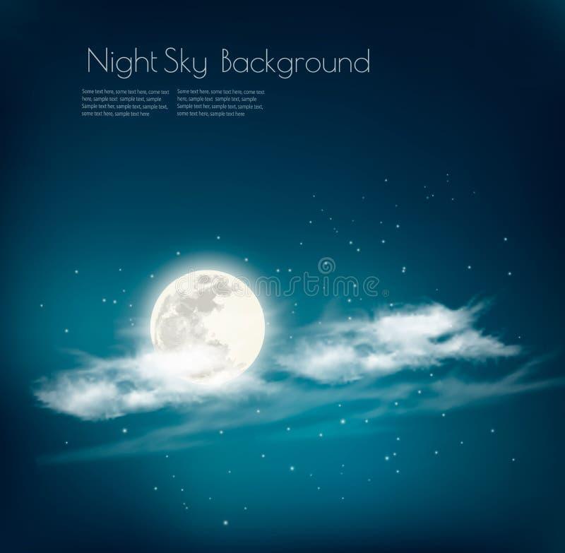 Предпосылка неба природы ночи с облаком и луной иллюстрация вектора