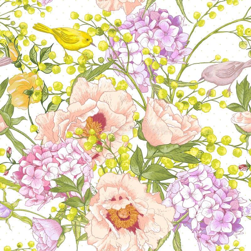 Предпосылка нежной весны флористическая безшовная бесплатная иллюстрация
