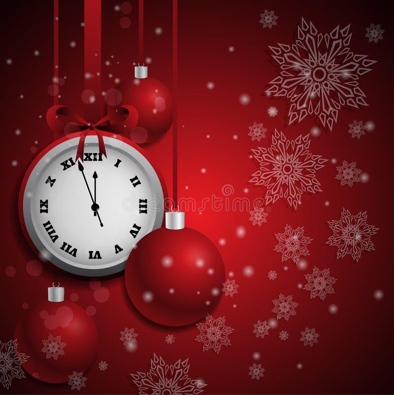 Предпосылка Нового Года красная с шариками рождества и винтажными часами иллюстрация штока