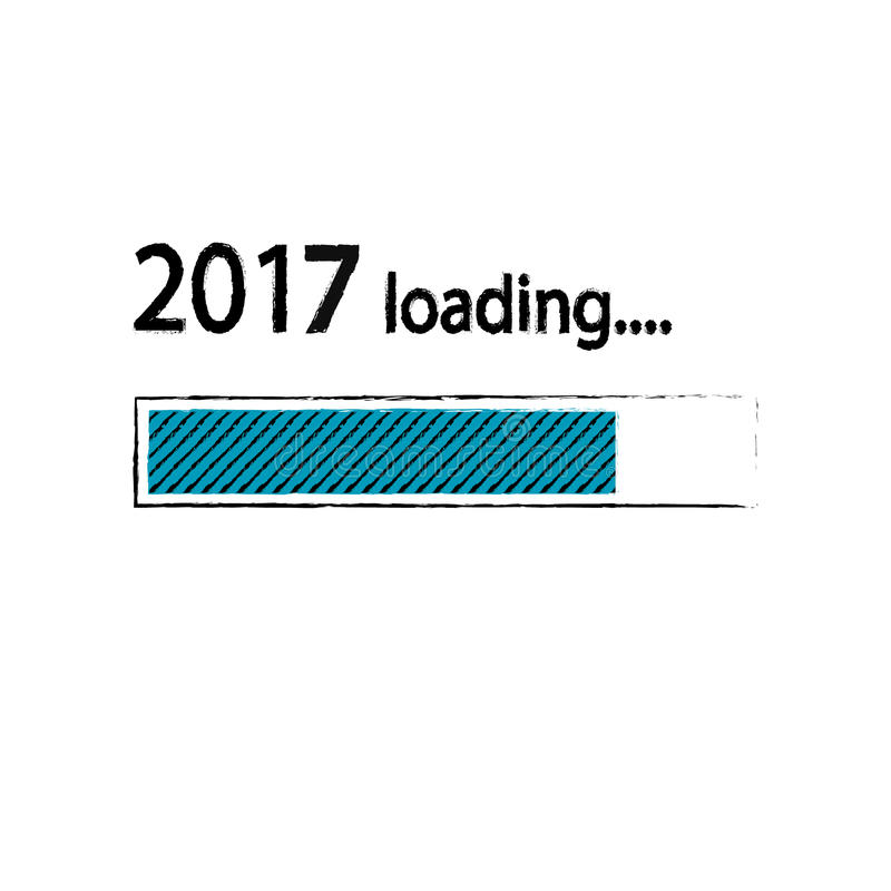 Предпосылка Нового Года 2017 нагружая, счастливый Новый Год Концепция не совсем чистого дела: нагрузка почты Зеленый голубой цвет иллюстрация вектора