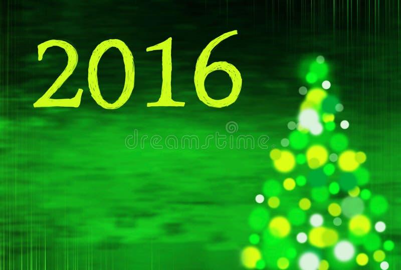 Предпосылка Нового Года с рождественской елкой и сочинительством 2016 стоковые изображения rf