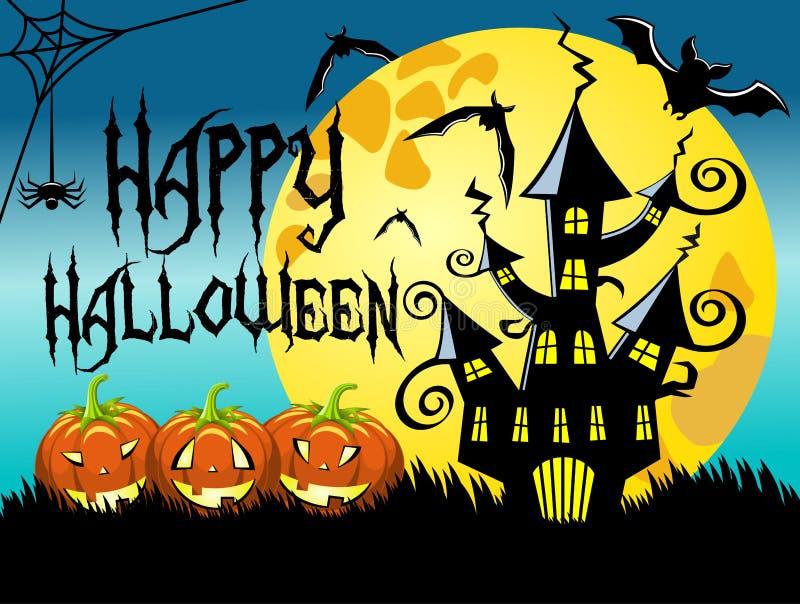 Предпосылка ночи хеллоуина горизонтальная иллюстрация штока