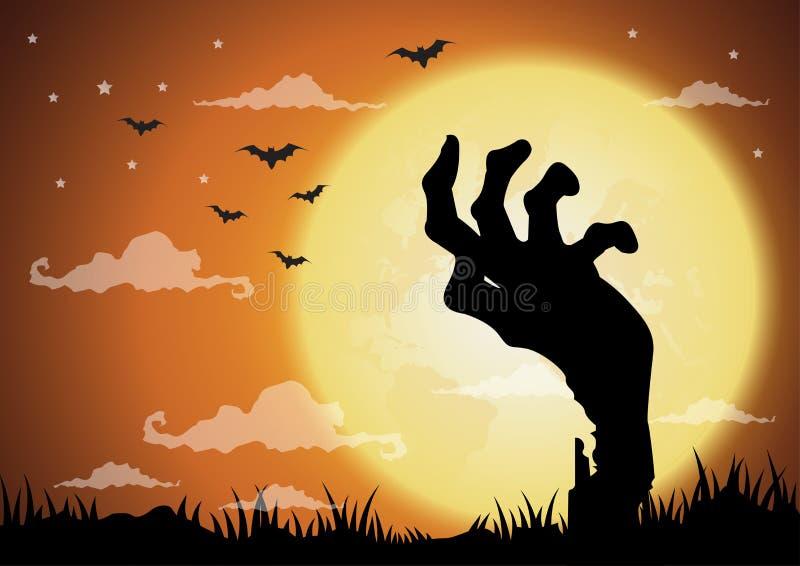 Предпосылка ночи хеллоуина, руки зомби и полнолуние бесплатная иллюстрация
