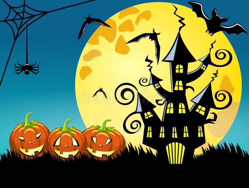 Предпосылка ночи Halloween иллюстрация вектора