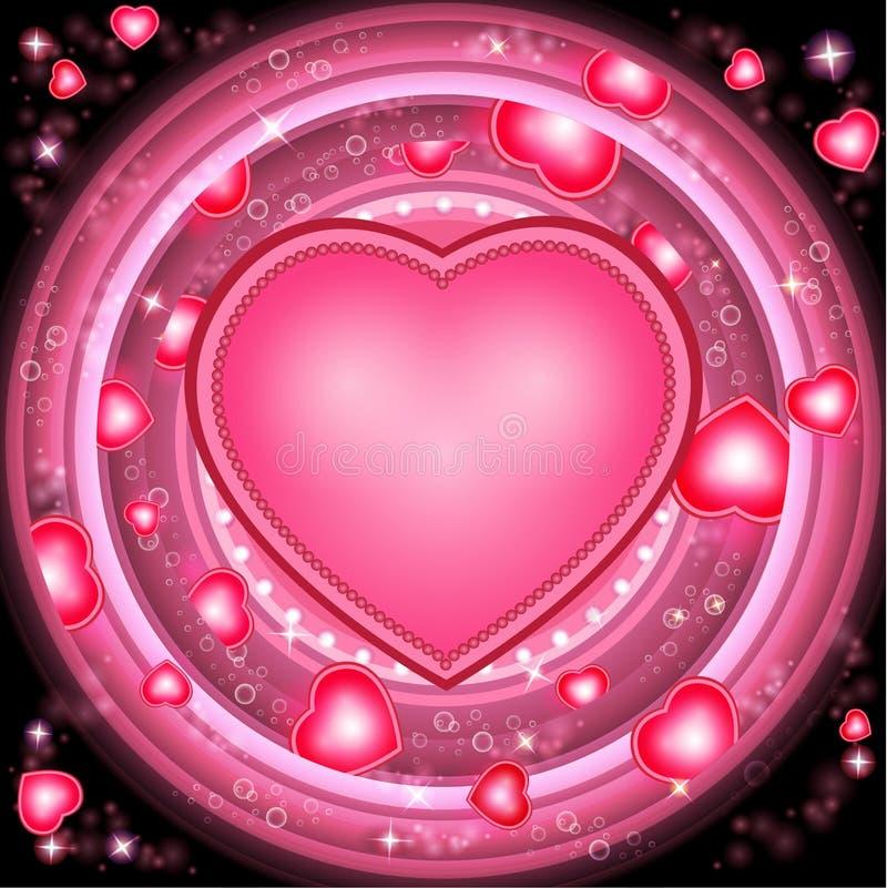 Предпосылка дня валентинок с сердцами и круглыми розовыми frams иллюстрация вектора