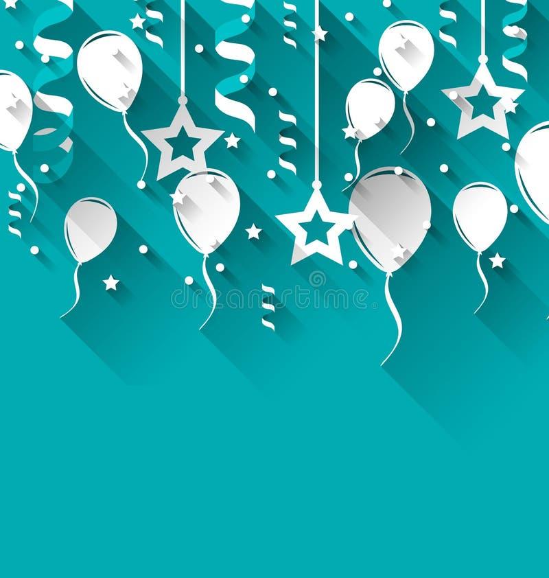 Предпосылка дня рождения с воздушными шарами, звездами и confetti, ультрамодным fl иллюстрация вектора