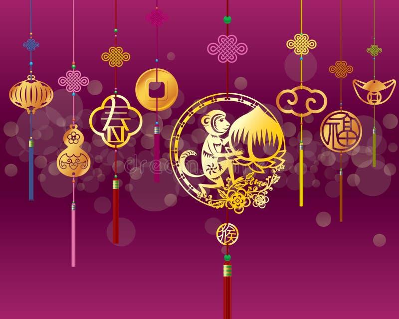 Предпосылка обезьяны CNY с золотым украшением иллюстрация штока