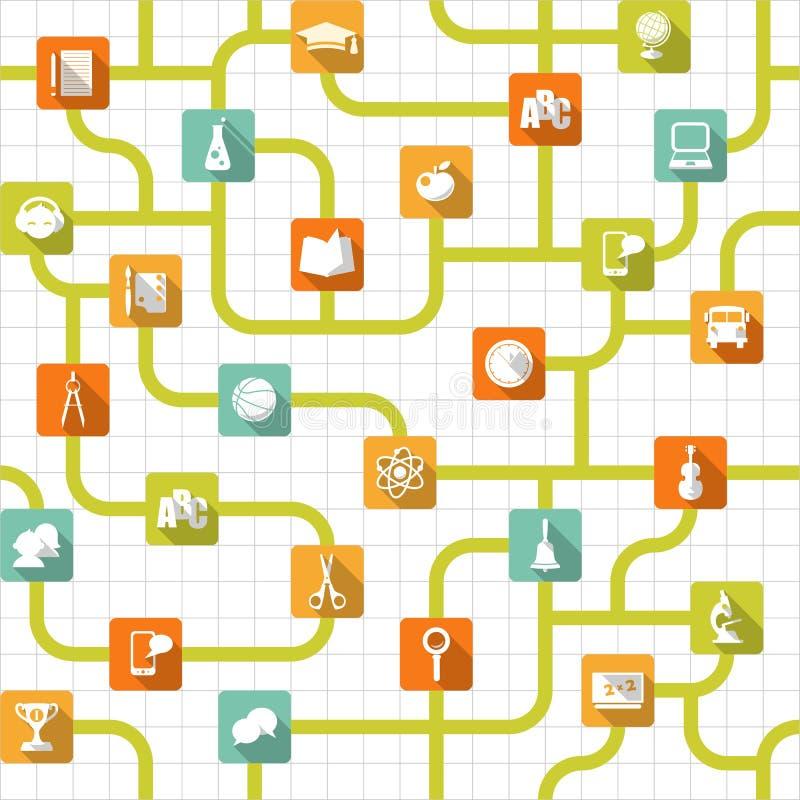 Предпосылка образования безшовная с плоскими значками иллюстрация вектора