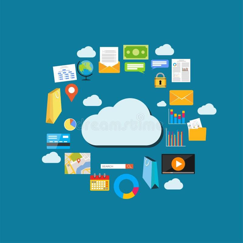 Предпосылка облака вычисляя Технология сети хранения данных Мультимедийный контент, хостинг вебсайтов Интернет удовлетворяет конц иллюстрация штока
