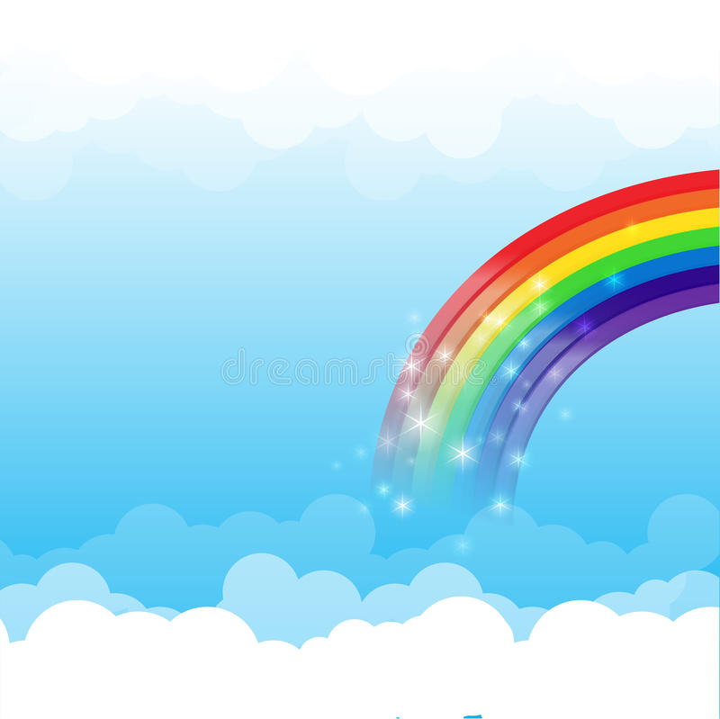 Предпосылка 003 облака и неба радуги иллюстрация вектора