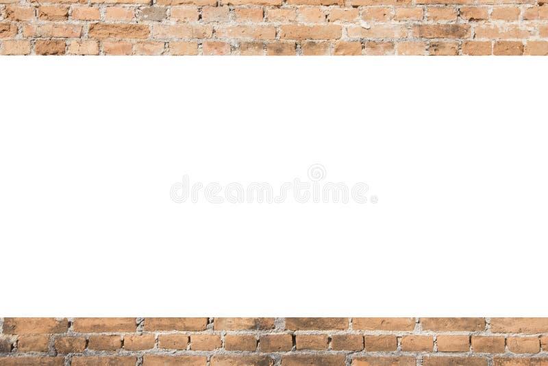 Предпосылка оранжевой старой картины кирпича с белым космосом стоковое изображение