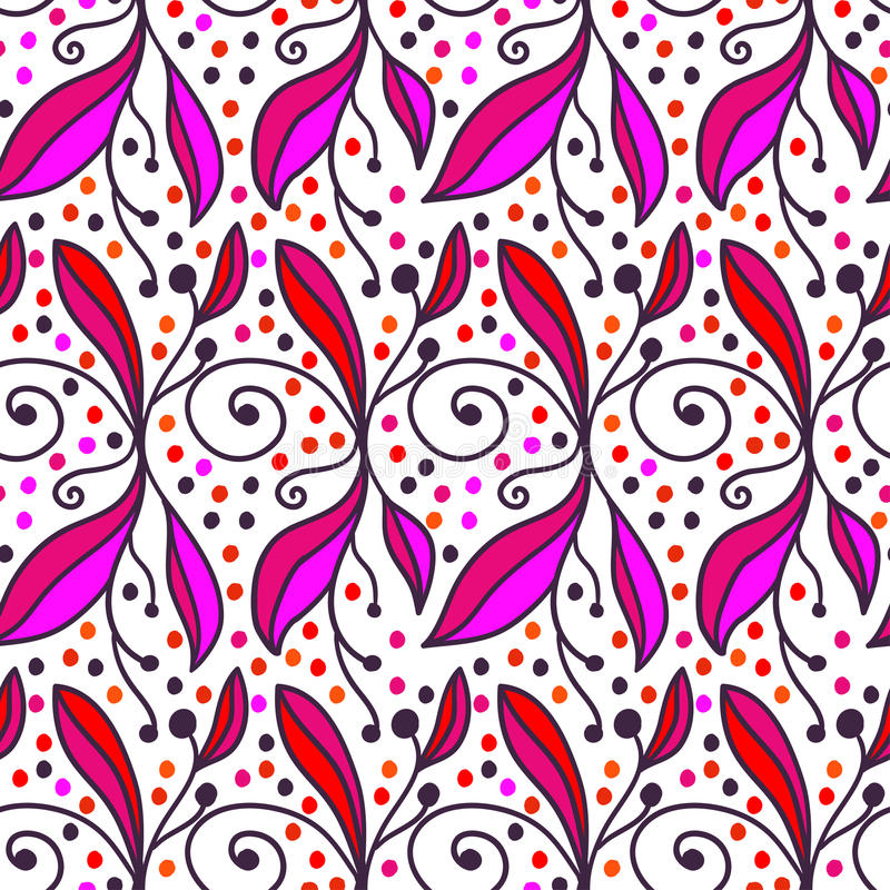 Предпосылка орнаментального doodle флористическая Безшовная картина для ваших обоев дизайна, заполнений картины, предпосылок инте иллюстрация штока