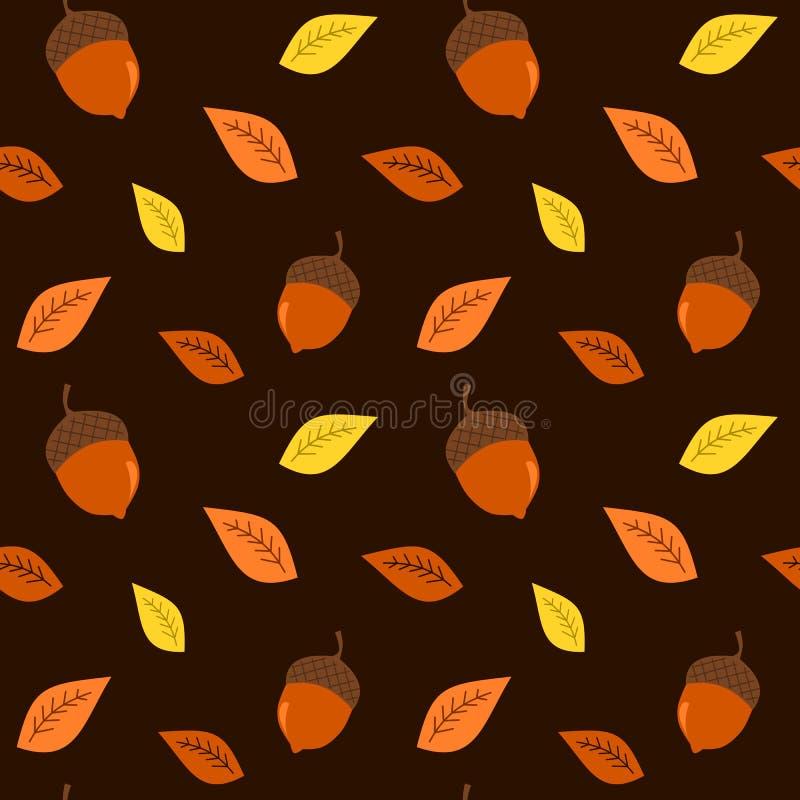 Предпосылка осени падения красочная с иллюстрацией картины жолудей безшовной иллюстрация штока