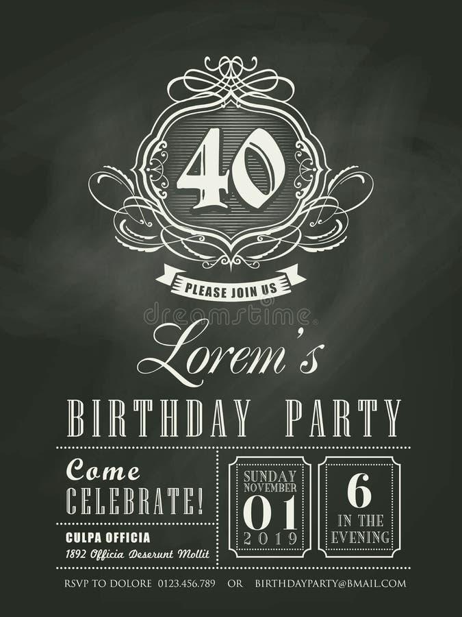 Предпосылка доски мела карточки приглашения дня рождения годовщины иллюстрация вектора