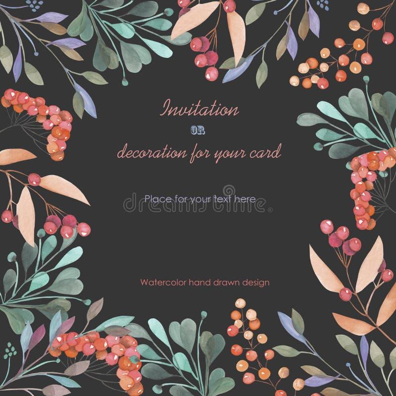 Предпосылка, открытка шаблона с флористическим орнаментом зеленого цвета акварели разветвляет и красные ягоды, рука нарисованная  бесплатная иллюстрация