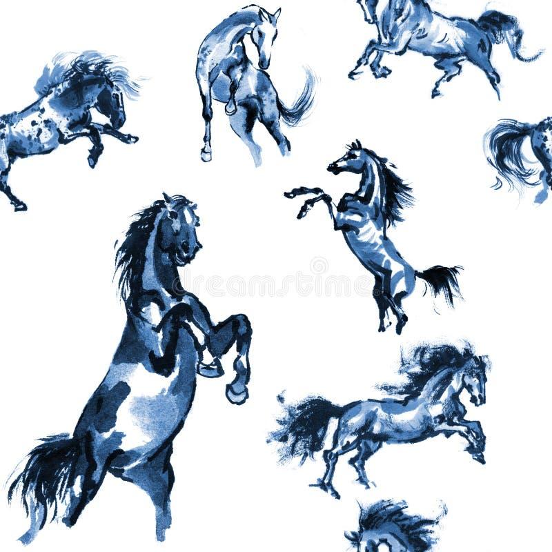 Предпосылка лошадей безшовная иллюстрация вектора