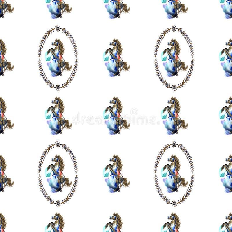 Предпосылка лошадей безшовная иллюстрация штока