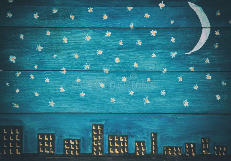 Предпосылка панели ретро ночного неба деревянная стоковые фотографии rf