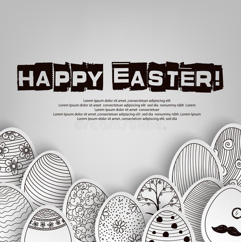 Предпосылка пасхальных яя с книжка-раскраской картины на черно-белом иллюстрация вектора