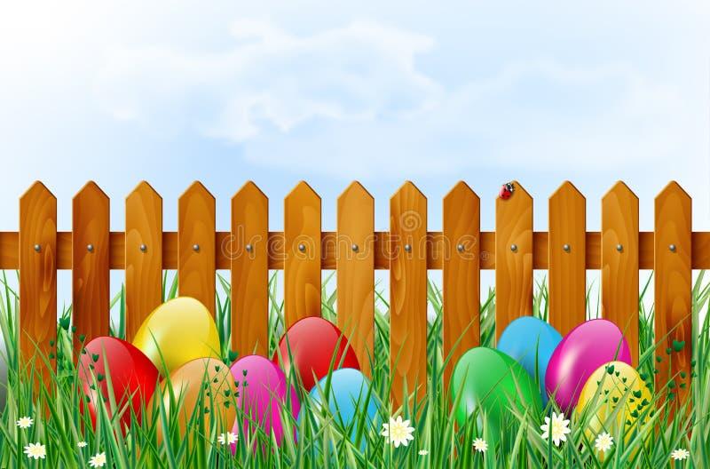 Предпосылка пасхи с пасхальными яйцами в траве и деревянной загородке бесплатная иллюстрация