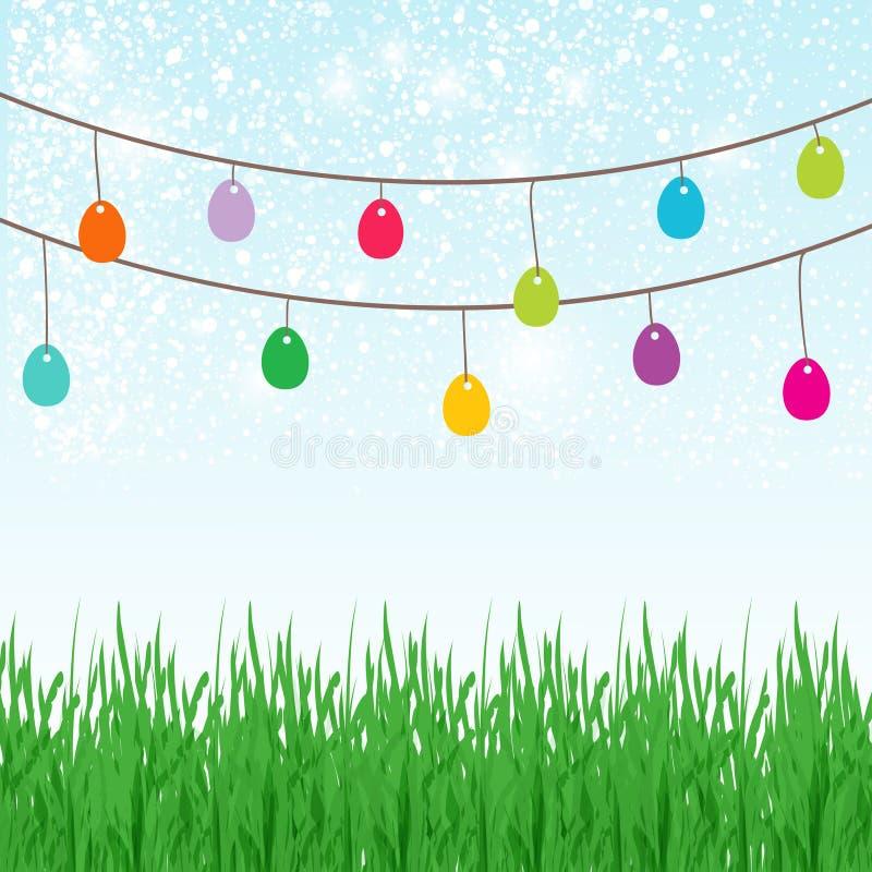 Предпосылка пасхи с copyspace в небе отличая милым зайчиком пасхи и сериями покрашенных пасхальных яя иллюстрация штока