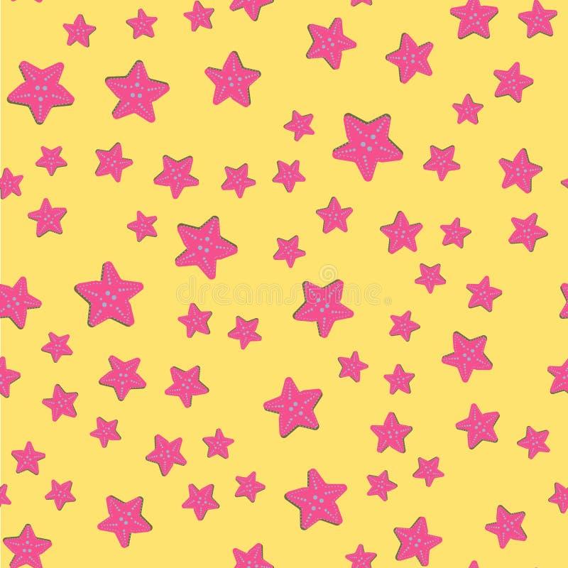 Предпосылка перемещения моря безшовная с подводными животными подныривания starfish Картина вектора акватическая, летние каникулы иллюстрация вектора