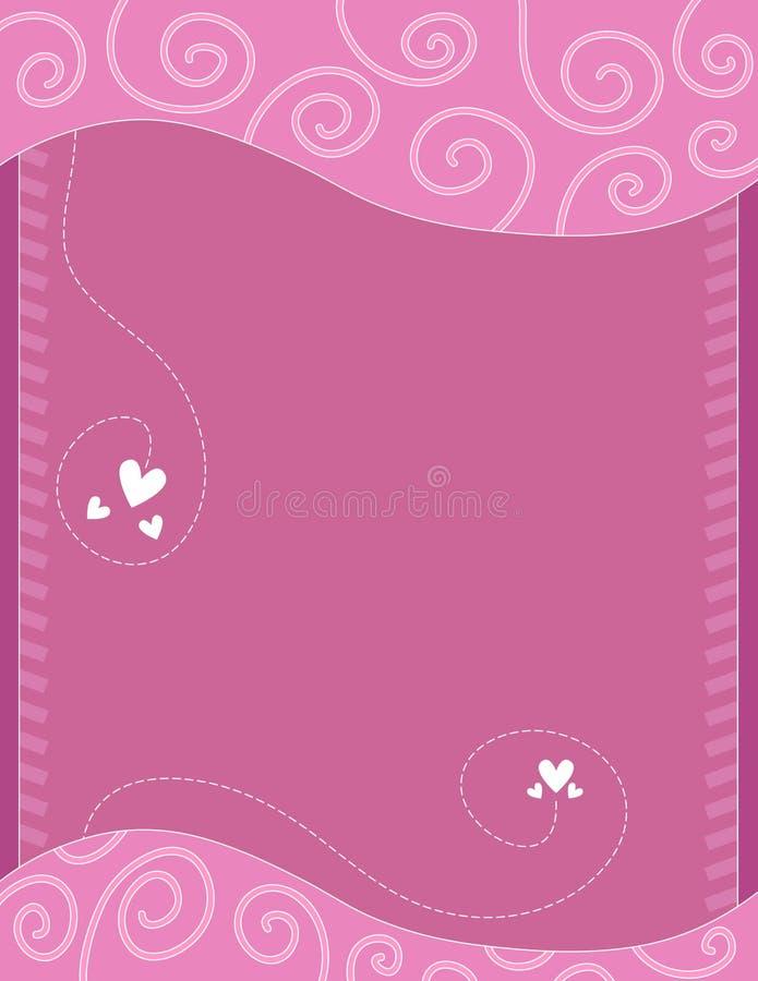 Предпосылка пинка и белых романтичная с сердцами иллюстрация штока