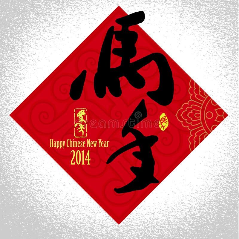 Предпосылка поздравительной открытки Нового Года 2014 китайцев иллюстрация вектора