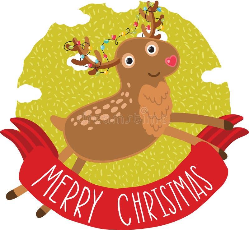Предпосылка поздравительной открытки оленей рождества иллюстрация штока