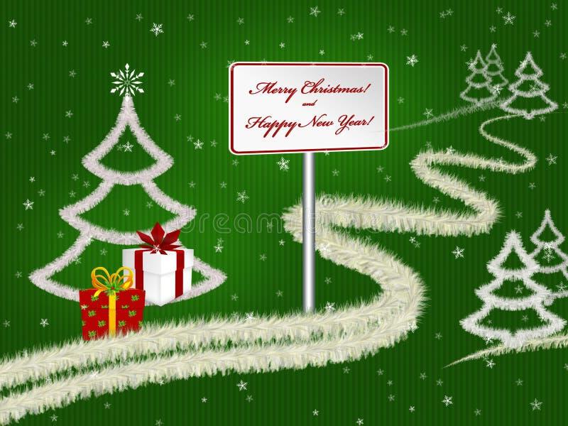 Предпосылка поздравительной открытки рождества с елями, подарками и снежностями на зеленом цвете бесплатная иллюстрация