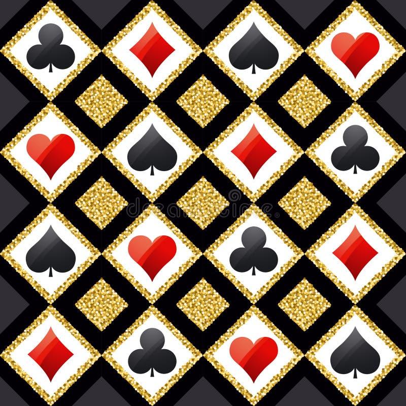 Предпосылка покера безшовного казино играя в азартные игры с красным цветом, черным иллюстрация штока