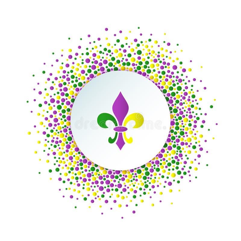 Предпосылка праздника марди Гра Круглая поставленная точки рамка с красочным fleur de lis иллюстрация вектора